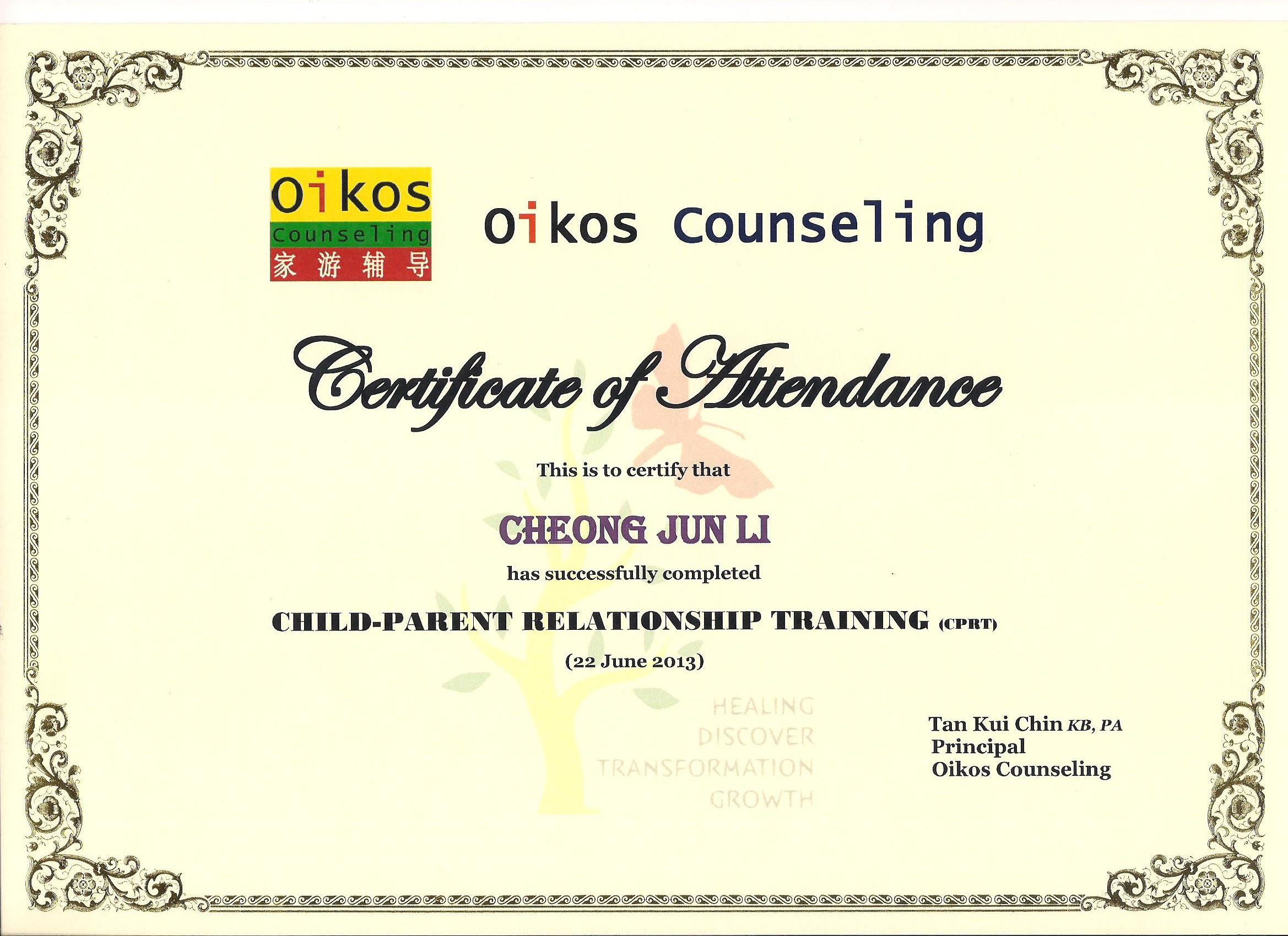 Teamcheong Jun Li Oikos Counseling